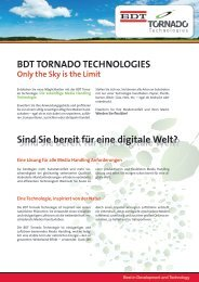 Only the Sky is the Limit BDT TORNADO TECHNOLOGIES