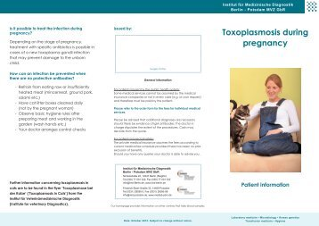 Toxoplasmosis during pregnancy - IMD Berlin