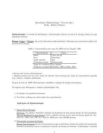 Exercícios e notas de aula sobre epidemiologia