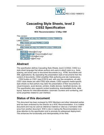 W3C CSS2 Cascading Style Sheets, level 2 - instructional media + ...