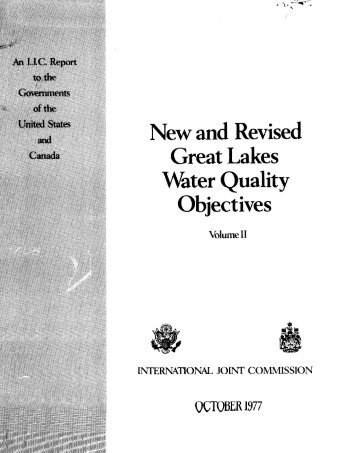New and Revised Great Lakes Water Quality Objectives Volume I1 ...