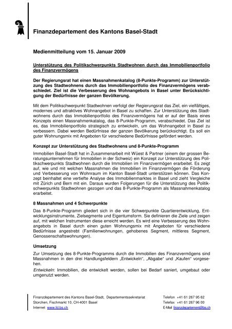 Medienmitteilung FD_Stadtwohnen - Immobilien Basel-Stadt ...