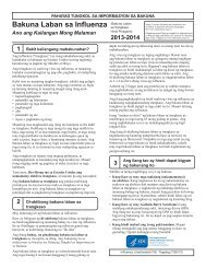 Influenza Vaccine 2012 - 2013 Inactivated - Tagalog