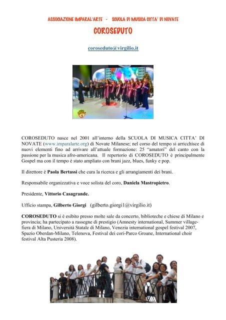 Scuola Di Musica Novate Milanese.Coroseduto Imparal Arte