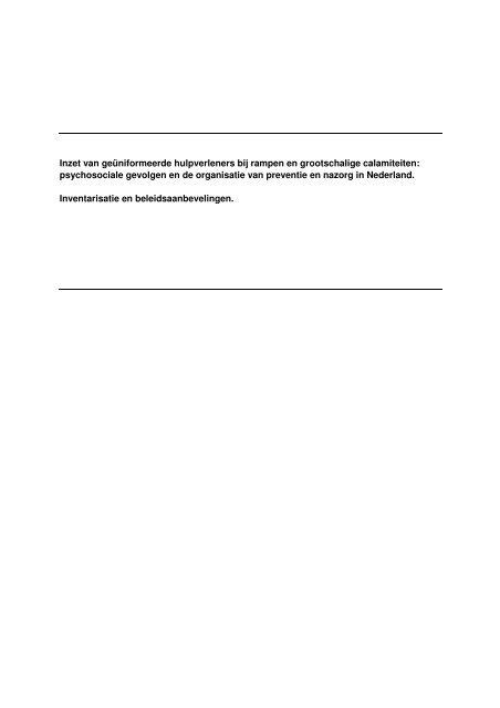 Rapport Psychosociale gevolgen hulpverleners rampen - Impact