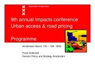 9th annual Impacts conference Urban access & road pricing ...