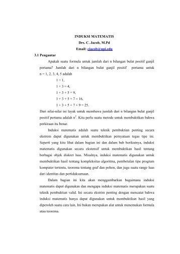 INDUKSI MATEMATIS Drs. C. Jacob, M.pd Email ... - Direktori File UPI