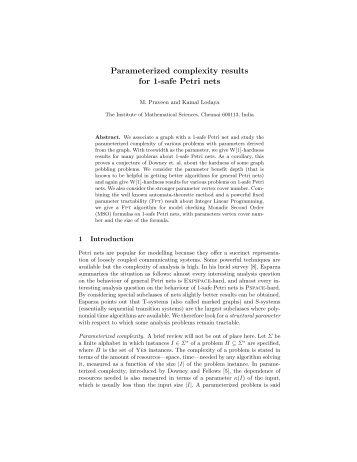 Parameterized complexity results for 1-safe Petri nets