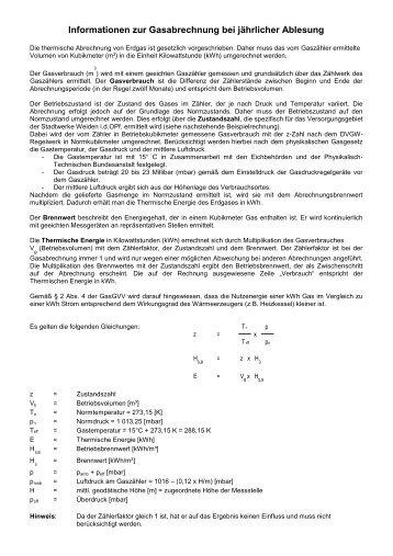 Informationen zur Gasabrechnung bei jährlicher Ablesung