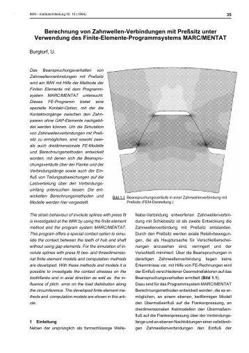 Berechnung von Zahnwellenverbindungen mit ... - TU Clausthal