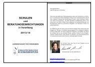 SCHULEN - Landesschulrat für Vorarlberg
