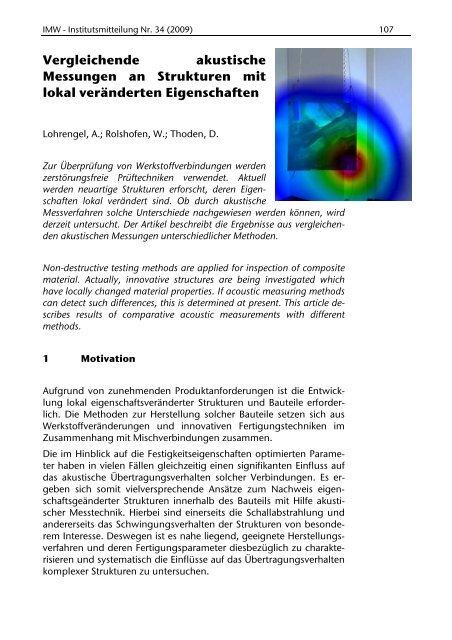 Vergleichende akustische Messungen an Strukturen mit lokal ...
