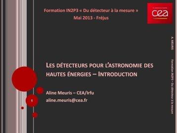 Détecteurs pour l'astronomie à haute énergie - IN2P3