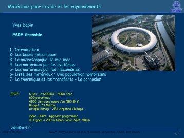 Matériaux pour le vide et les rayonnements - IN2P3