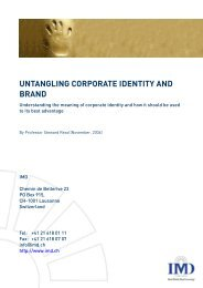 UNTANGLING CORPORATE IDENTITY AND BRAND - IMD