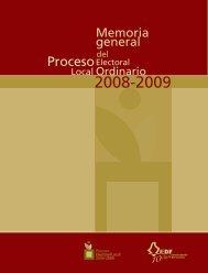 Memoria General del Proceso Electoral Local Ordinario 2008-2009