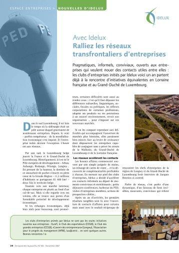 Avec IDELUX, ralliez les réseaux transfrontaliers d'entreprises (PDF)