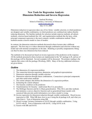 New Tools for Regression Analysis: Dimension Reduction and - icpsr