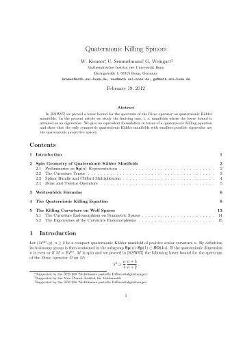 Quaternionic Killing Spinors - Institut für Geometrie und Topologie