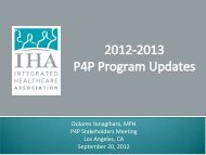 2012ProgramUpdates_P.. - Integrated Healthcare Association