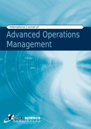 Advanced Operations Management - Inderscience Publishers