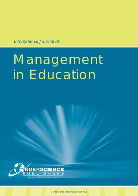 Management in Education - Inderscience Publishers