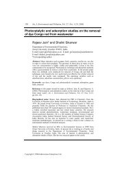 Photocatalytic and adsorption studies on the removal ... - InderScience