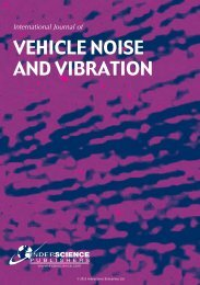 VEHICLE NOISE AND VIBRATION - Inderscience Publishers