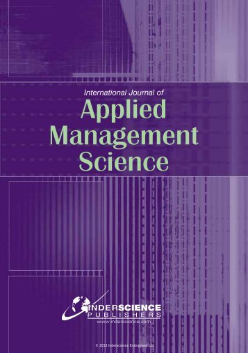 Applied Management Science - Inderscience Publishers
