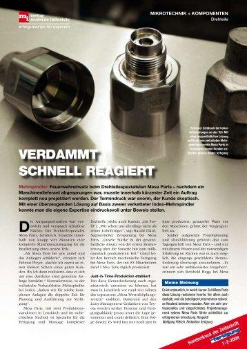 vErDaMMt SChNEll rEagIErt - INDEX-Werke GmbH & Co. KG Hahn ...