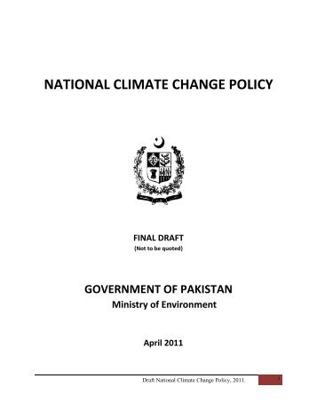NATIONAL CLIMATE CHANGE POLICY - India Environment Portal