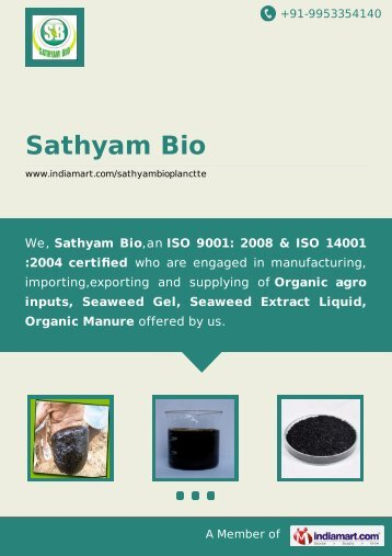 Sathyam Bio, Madurai - Supplier & Manufacturer of ... - IndiaMART