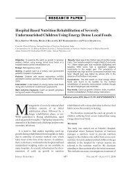 Hospital Based Nutrition Rehabilitation of ... - Indian Pediatrics