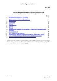 Förderdiagnostische Kriterien (aktualisiert)