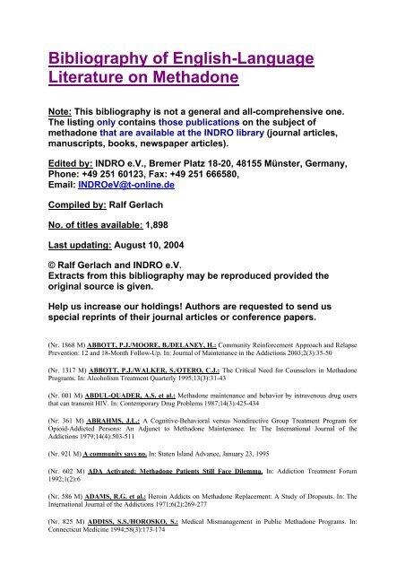 Bibliography of English-Language Literature on     - INDRO e V