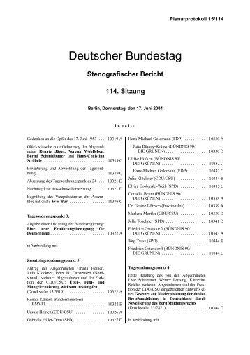 Stenografischer Bericht: 114. Sitzung - Deutscher Bundestag