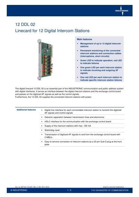 12 ddl 02 linecard for 12 digital intercom stations - industronic