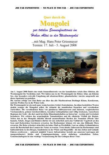 Quer durch die Mongolei zur Sonnenfinsternis - Joe Far Tours