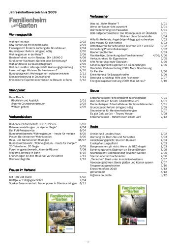 Jahresinhalt 2009 - Familienheim und Garten