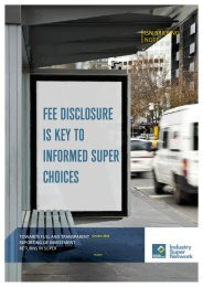 fee disclosure is key to informed super choices - Industry Super ...