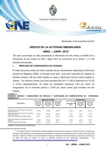 indices de la actividad inmobiliaria abril – junio 2012 - Instituto ...