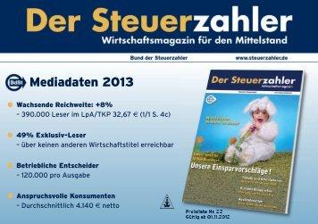 Mediadaten 2013 - BdSt Steuerzahler Service GmbH