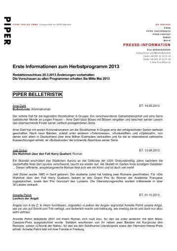 Erste Informationen zum Herbstprogramm 2013 - Piper Verlag