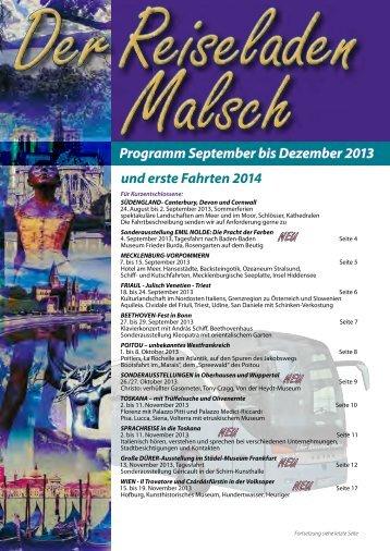 und erste Fahrten 2014 Programm September bis Dezember 2013