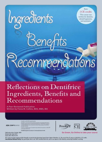 Reflections on Dentifrice Ingredients, Benefits and ... - IneedCE.com