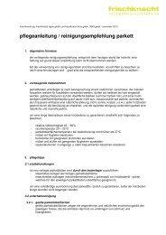 pflegeanleitung / reinigungsempfehlung parkett - Frischknecht AG