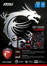 MSI Z77A-GD65 GAMING Datasheet