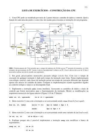 LISTA DE EXERCÍCIOS – CONSTRUÇÃO DA CPU