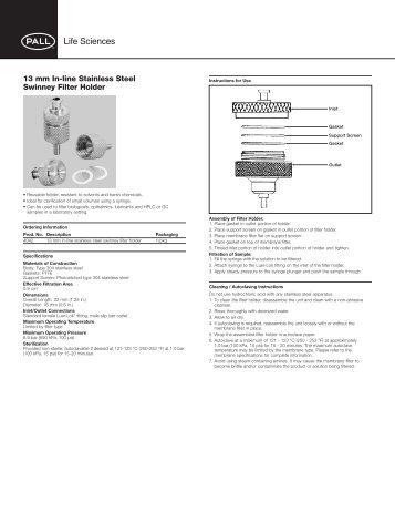 13 mm In-line Stainless Steel Swinney Filter Holder - Pall Corporation