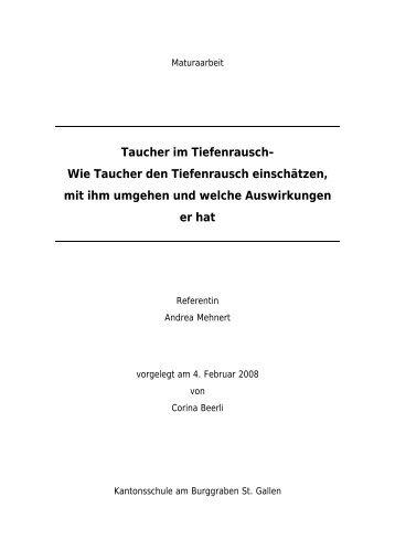 Taucher im Tiefenrausch- Wie Taucher den ... - Zingg-Dive GmbH
